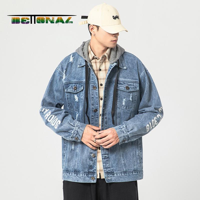 BETTONAL otoño streetwear abrigos hombres de la chaqueta de mezclilla rasgados vendimia sudaderas ropa de la juventud masculina de ropa de hip hop con capucha de Corea Japón