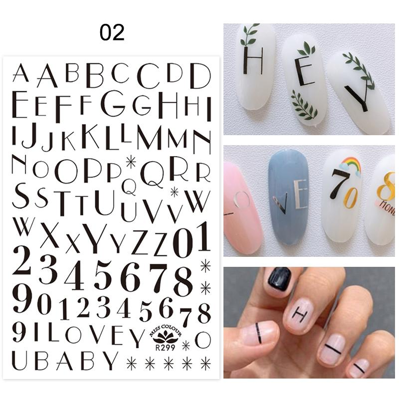 Лист D Nail Sticker цветок и Letter Pattern клей перевода наклейки DIY Nail Art Decorarion