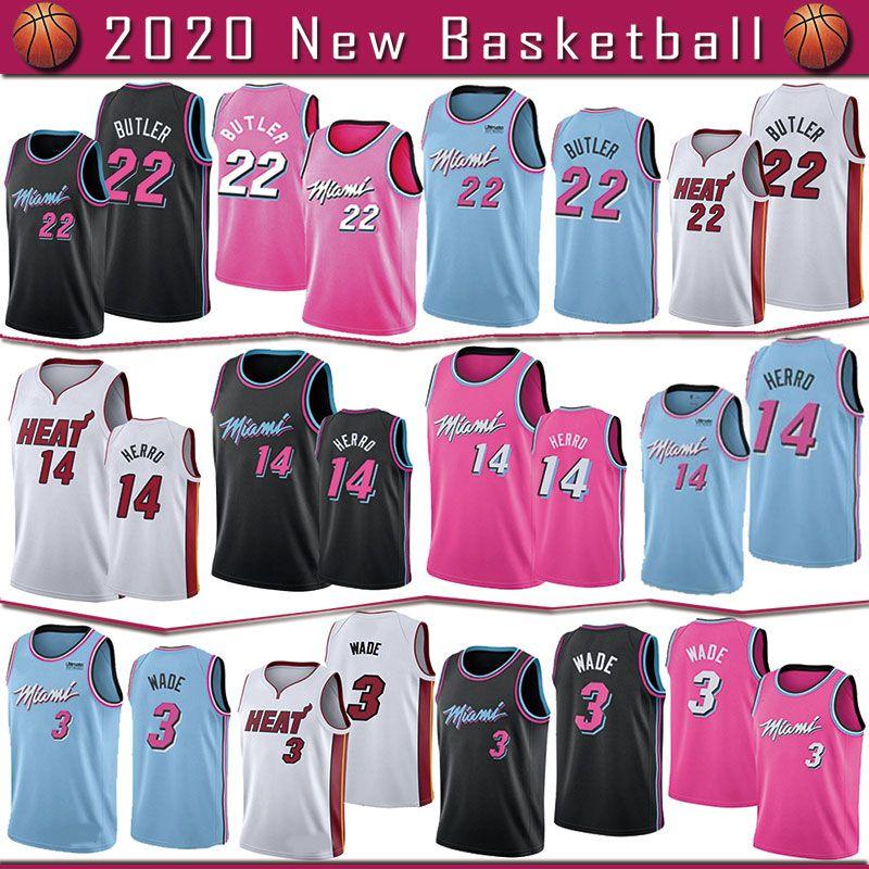 MiamiSıcaklıkjersey 22 JimmyButler 14 TylerHerro 3 DwyaneWade Yüksek kaliteli Basketbol formaları hızlı kargo