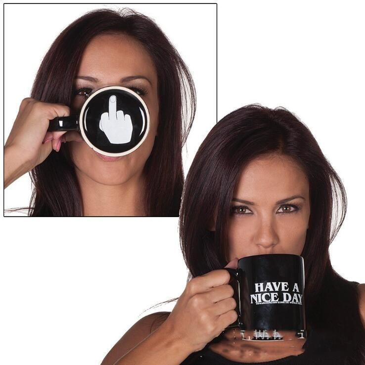 Kreative Have a Nice Day Keramik Kaffeetassen 301-400ML Mittelfinger Lustige Cup Milchtee Trinkbecher Geschenke DHE164