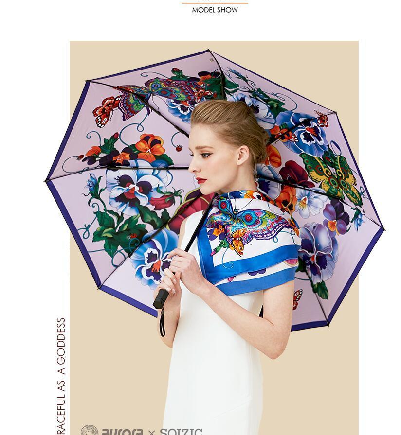 Leuke Boolflies Цветы VROUWEN Paraplu Creative Creative Creative Kunst Anti-UV Meisje ParaPlu Regen Dri-Vouwen Reyzen Pocket Parasol