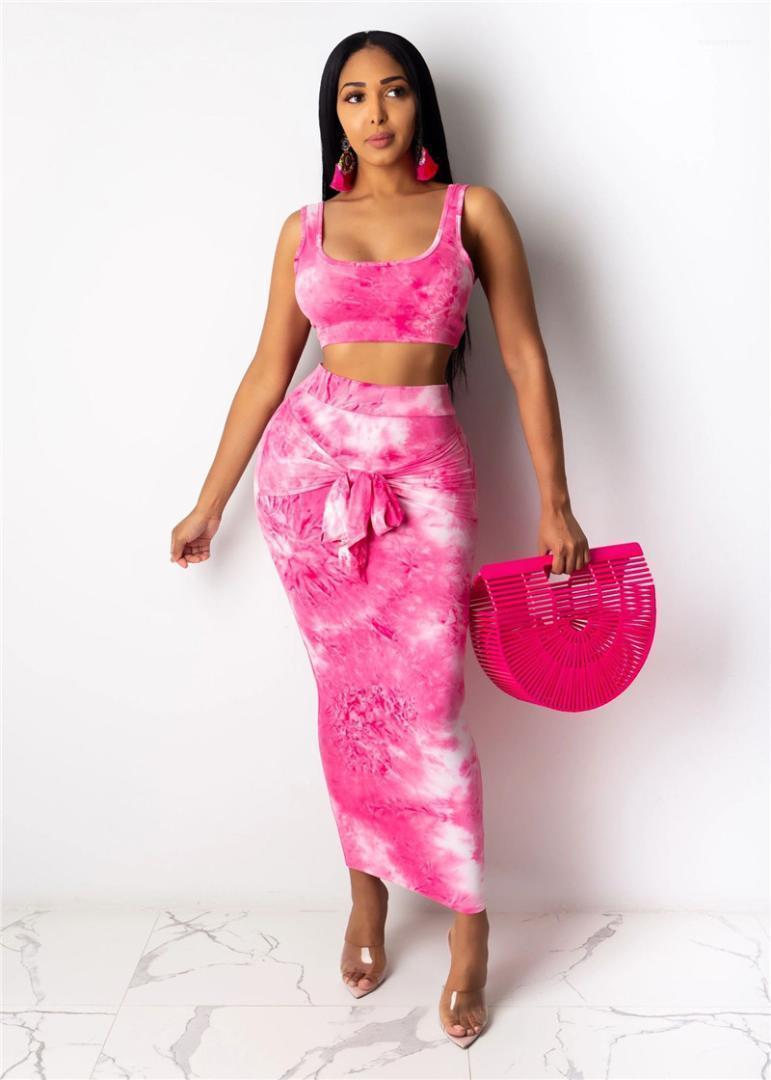 Parça Elbise Kadın Desinger Kısaca Kolsuz Casual U-Yaka İki Adet Kadın Seksi Giyim Yaz Batik Sashes BODYCON Two ayarlar