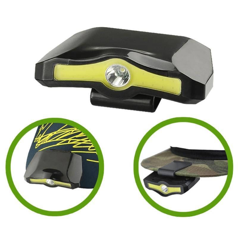 Portable XPE+COB LED Headlamp Cap Light 90 Degree Rotatable Clip-on Hat Light Battery Powered Camping Cycling Fishing Head Lamp