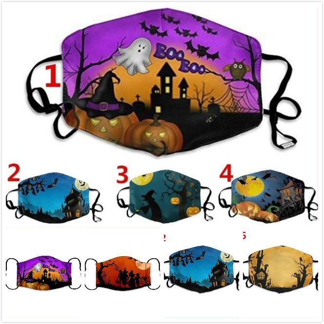 Diseñador de Halloween la mascarilla de algodón de la manera reutilizable mascarillas para adultos Oreja Ajustable hebilla máscara suave respirable del polvo anti niebla máscaras bucales