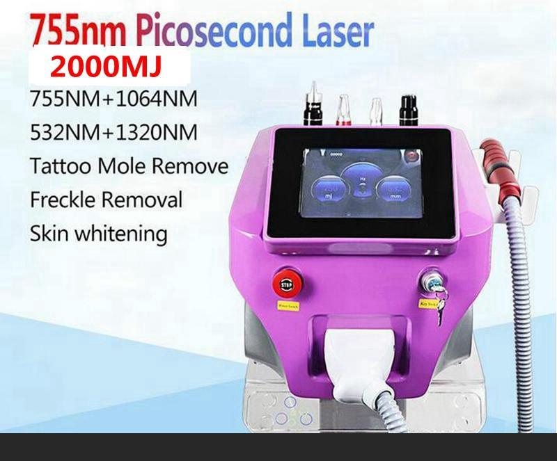 2020 Nueva Pico de tatuajes con láser máquina de eliminación de longitud de onda 532nm 755nm 4 1064 a 1.320 nm piel Picosegundo los equipos láser de Cuidado