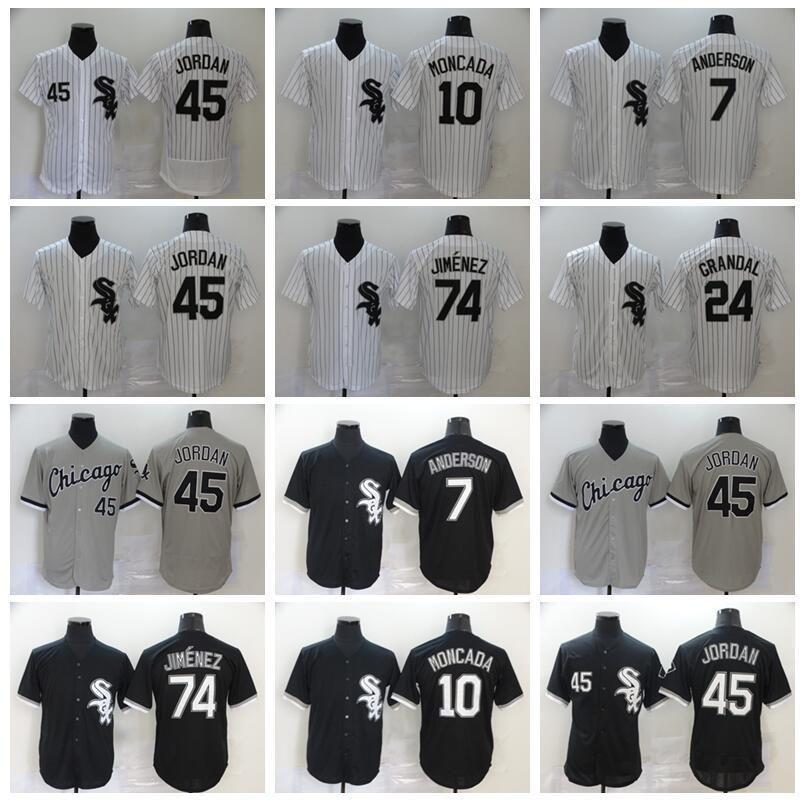 2020 Männer Baseball 10 YOAN MONCADA JERSEY 79 JOSE ABRU 7 Tim Anderson 24 Yasmani Grandal Home Black White All Niphcing Pinstripe Flexbase