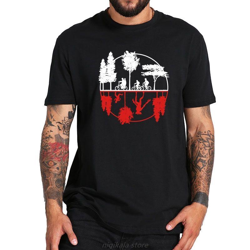 Eu Размер 100% Cotton T Shirt Странных вещи демособак Tshirt Мода короткий рукав Повседневная Tshirt