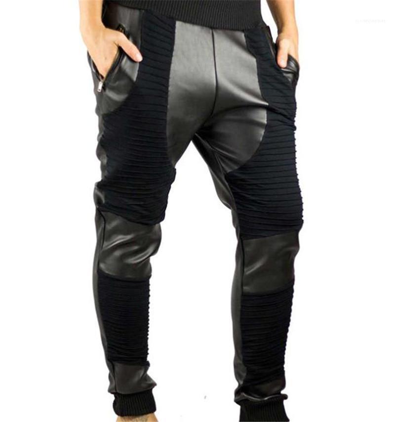 Natural Color Pencil Pants Men Designer Clothes New Arrival Mens Pants Fashion Leather Patchwork Trousers Casual