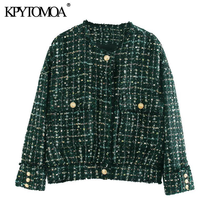 Giacche da donna Kpytomoa Donne 2021 Moda con bottoni con bottoni sfilacciati Tweed giacca cappotto vintage o collo manica lunga tasche femmina tuta sportiva chic t