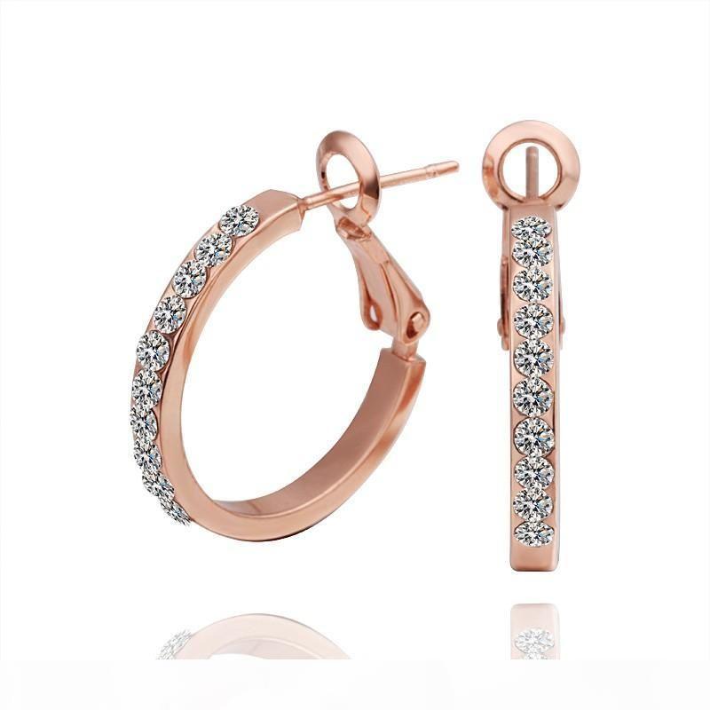 El oro caliente de las ventas 18K Rose plateado genuino joyería elegante traje de la manera Pendientes de cristal austriaco pendientes del aro para las mujeres