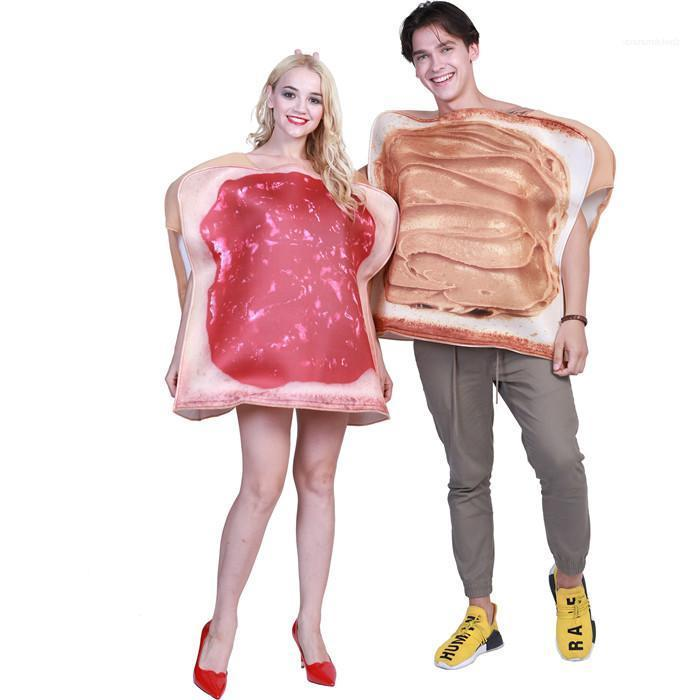Couple Clothing Womens Mens Winter Party Casual Apparel Mascot Costumes Halloween Jam Bread Cartoon Style Festival Designer