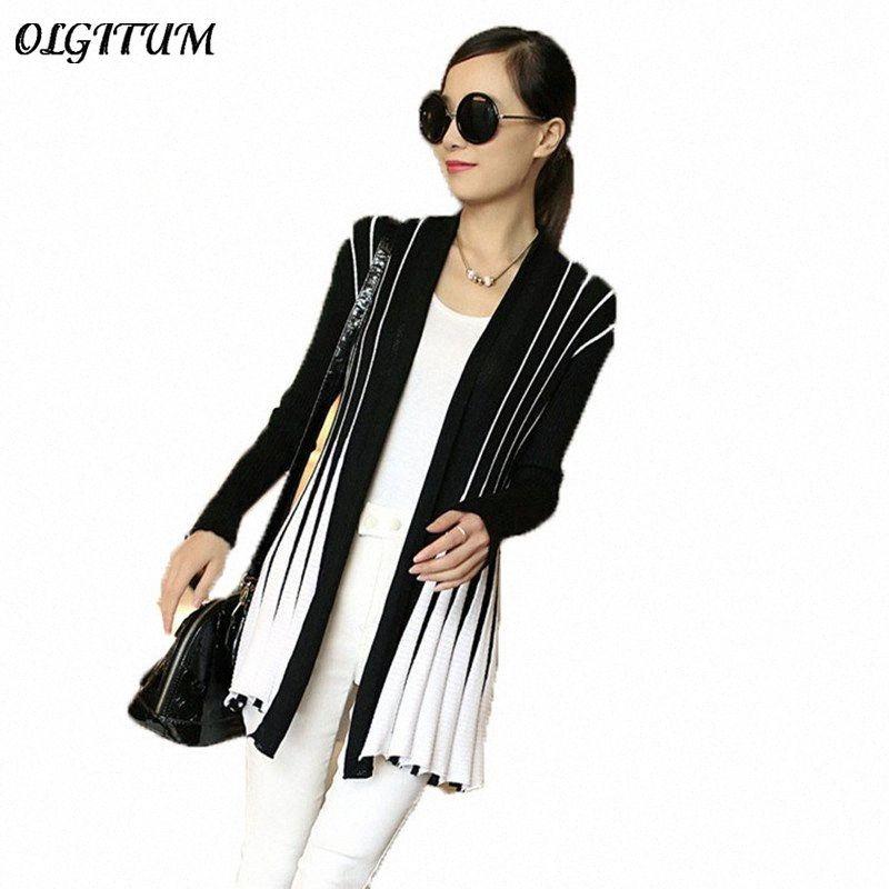 OLGITUM Frühlings-Frauen Strickjacke 2019 Fashion Stripes Print Langarm Pullover dünne Schal Stricken Pullover Cardigan Weiblich Y200106 0Dtp #