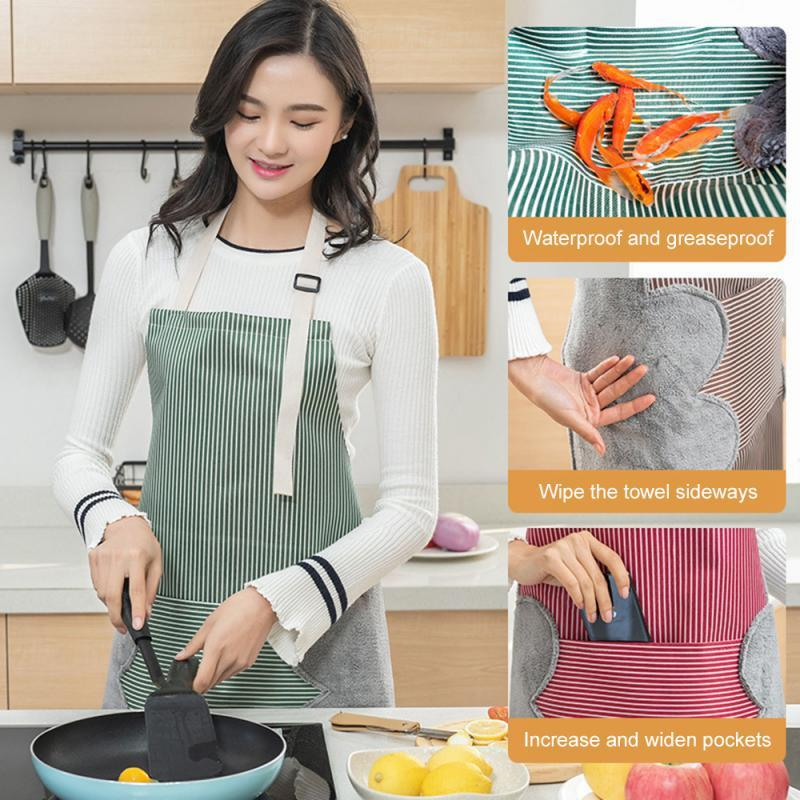 Cocina impermeable delantal borrable mano paño grueso y suave de la tela a prueba de aceite Oxford tela a rayas estilo japonés babero para Limpieza del hogar