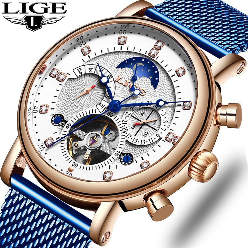 LIGE regalo Mens orologi di marca di lusso della vigilanza di modo meccanico Tourbillon Automatico inossidabile degli uomini di orologio Relogio Masculino T200812