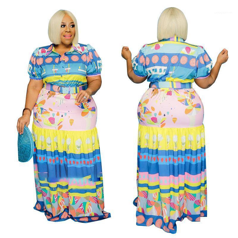 Mode d'impression d'été à manches courtes Maxi Dress Casual Sexy Plus Size femmes Vêtements pour femmes Robes de créateurs