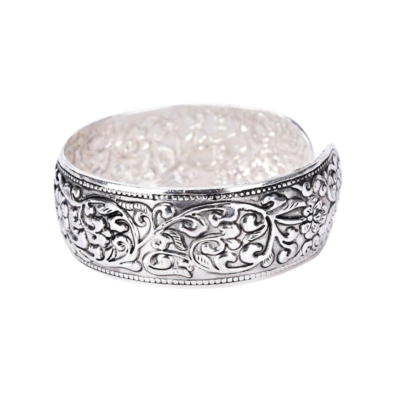 Retro delicata gioielli nuovo tibetano d'argento fortunato placcato Fiore Bangles antichi Dichiarazione Etnica Braccialetti del polsino
