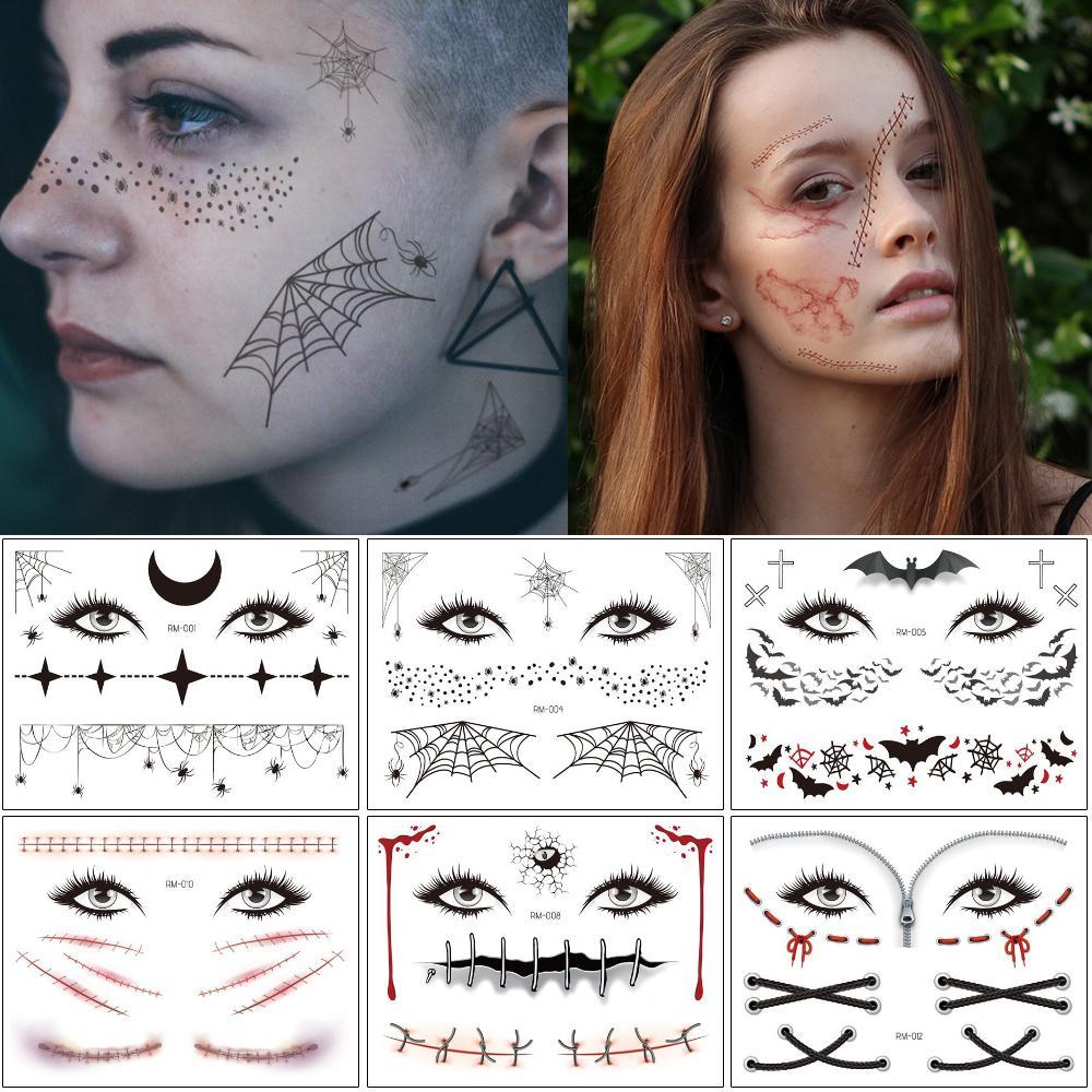 Halloween Tag Body Art Tattoo Spider Blooding Narbe Schrecklich Bat Crack Decal Design Festival Party Gesicht Makeup Temporäre Tatoo Aufkleber Papier
