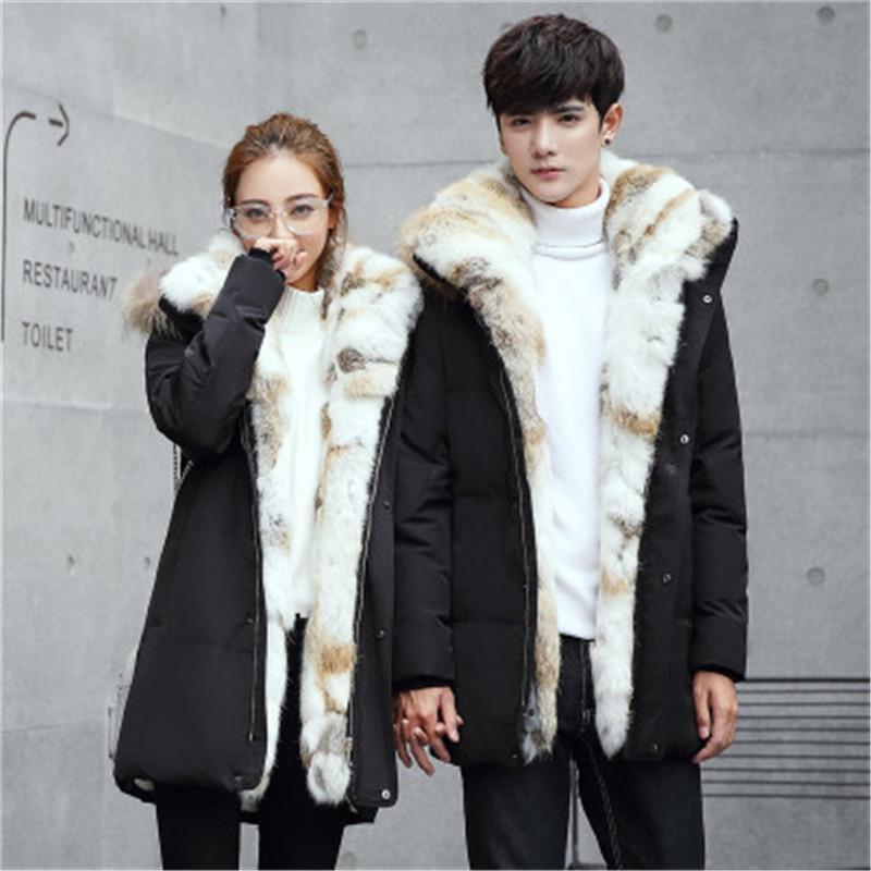 Adam Kadınlar Aşağı Ceket Moda Kore Sürüm Kalın Rex Tavşan Kürk Dış Giyim Tasarımcı Uzun Kollu Casual Fermuar Düğme Çift Başlıklı Coats