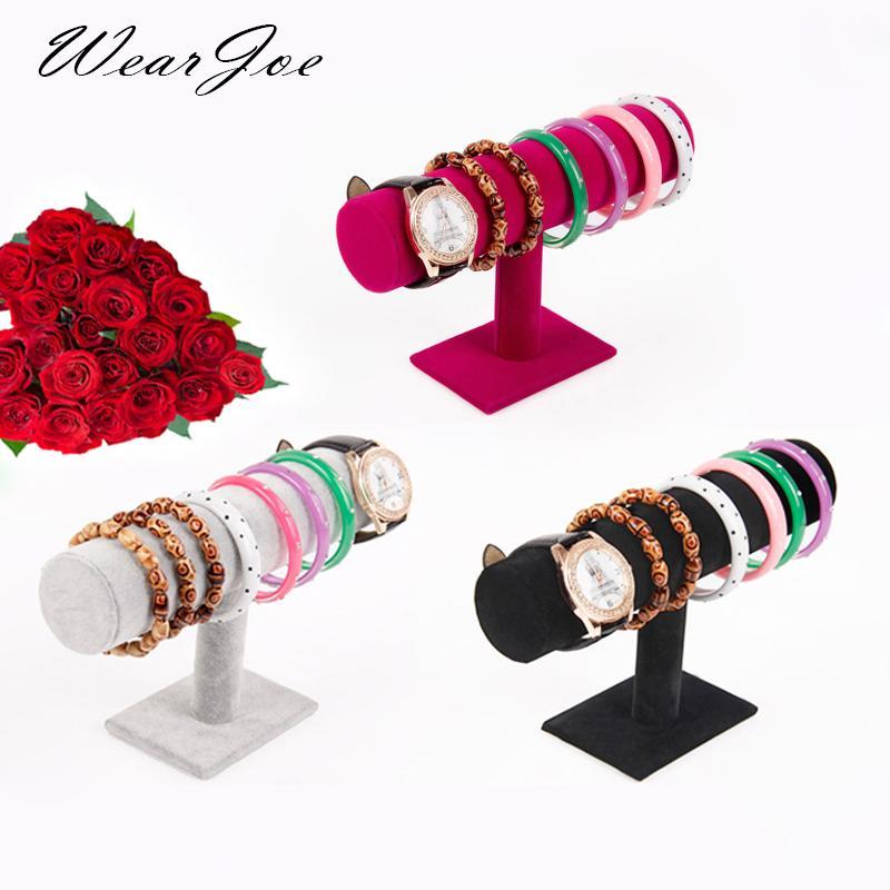 Envío gratuito suave terciopelo de exhibición de la joyería T-cremallera cadena de reloj de pulsera del collar de la venda de almacenamiento Llevar el sostenedor del soporte de madera
