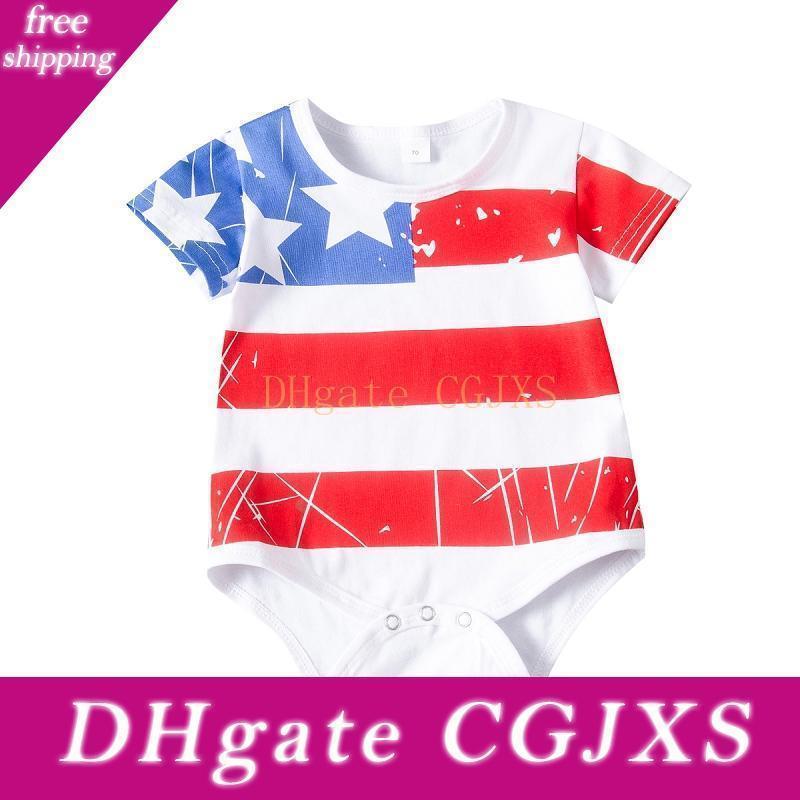 Luva recém-nascido roupas de verão macacãozinho Curto listrado da estrela da bandeira Imprimir bebê Jumpsuit Causal Triângulo Romper Roupa Para Independence Day M1886