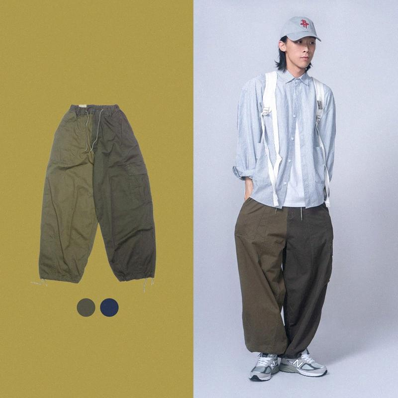 Homens elástico na cintura Japão Streetwear Splice Cores Solta Casual Calças Masculino Mulheres Moda Retro Hip Hop calças perna larga Carga Mid kZlw #