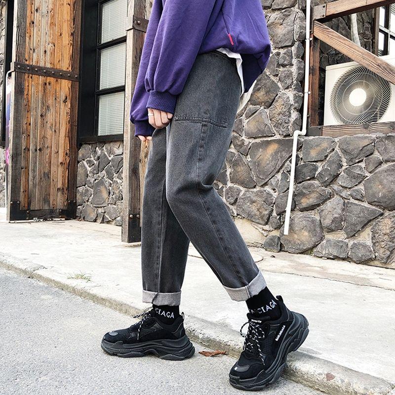 pantalones de hombre Perth otoño de Corea del estilo sólido de color y los pantalones vaqueros y los pantalones vaqueros del todo-fósforo pantalones rectos estilo coreano jóvenes bandeja de trabajo está suelto