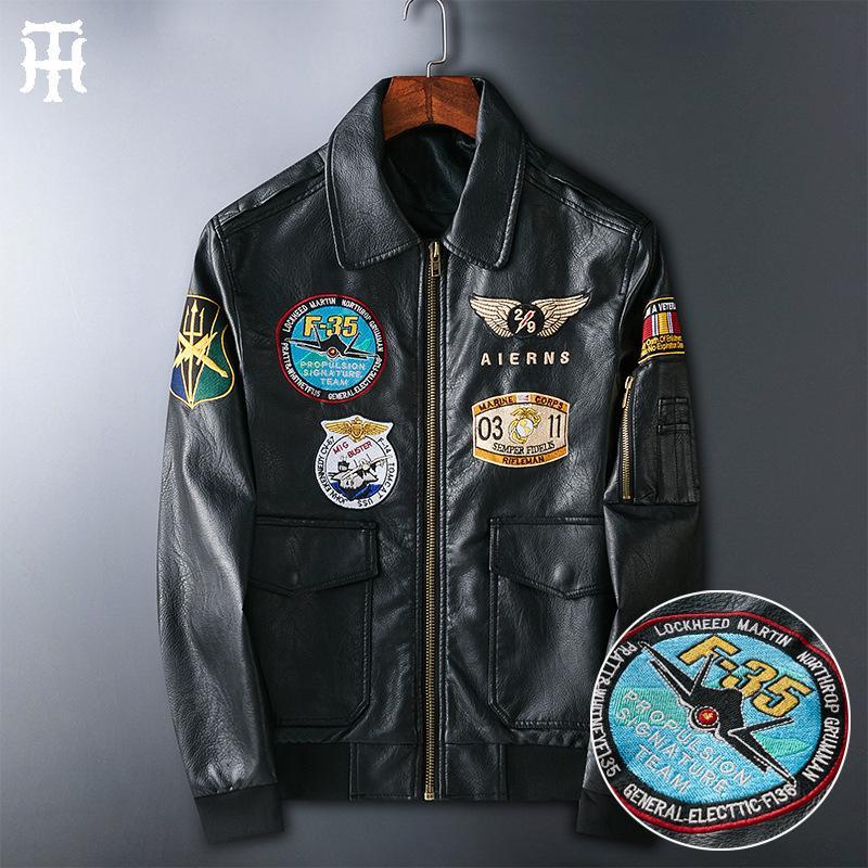 2020 paragraph Men's leather coat motorcycle clothing pilot PU leather jacket jacket jacket badge embroidered lapel leather coat for men