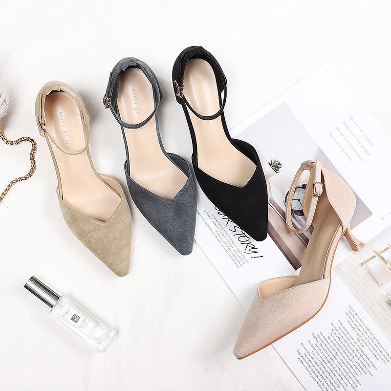 Büro der neuen Damen Schuhe Frau dünne hohe Absätze Punkt Toe Knöchelriemen Massiv Flock-Veloursleder-Leder Arbeit Karriere Pumps Sandalen Hot