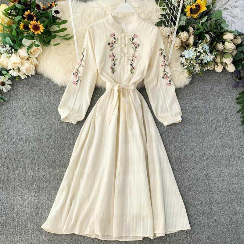 FTLZZ las mujeres del vestido de Bohemia del bordado de flores Cheongsam vestidos de primavera delgado otoño Vestido beige Vestidos