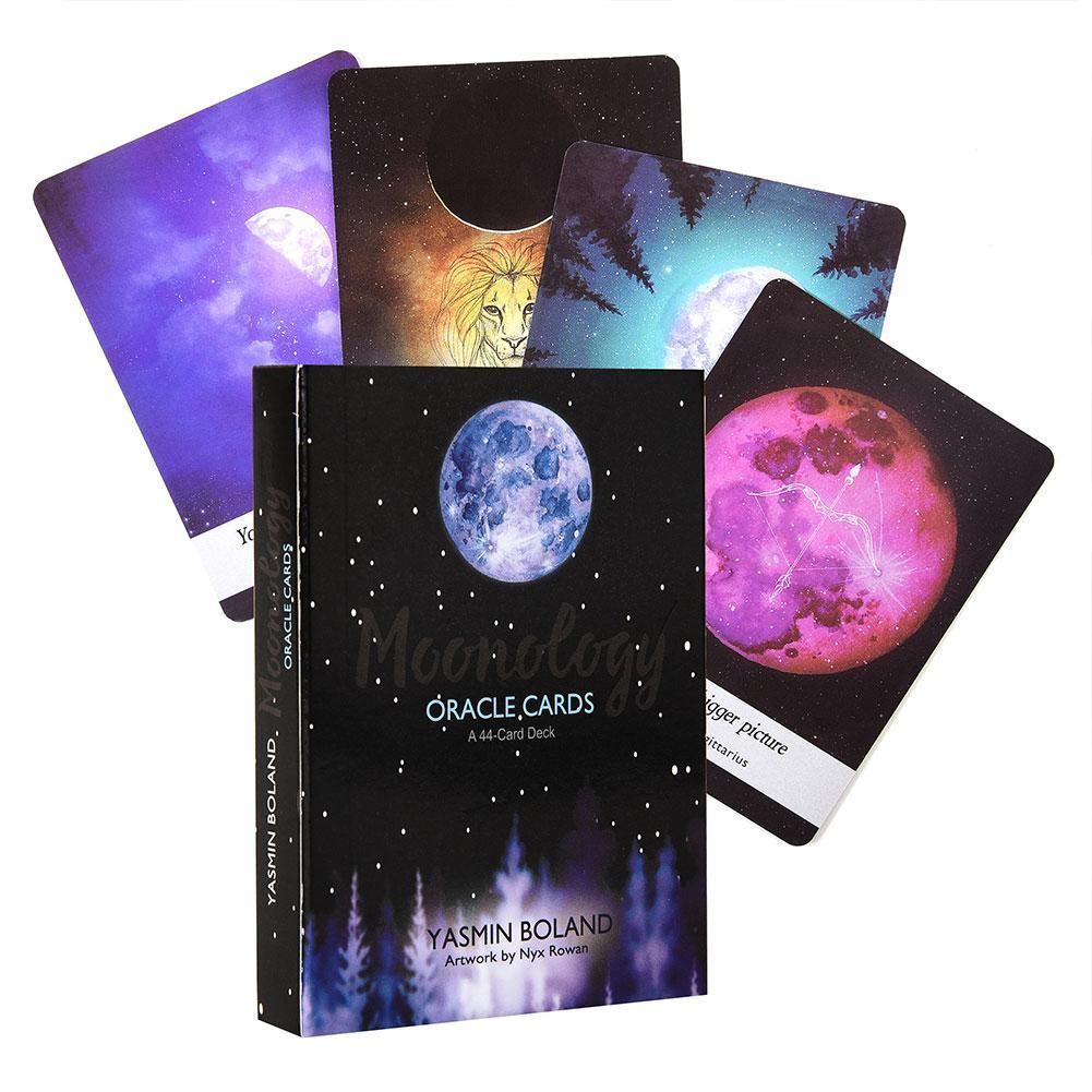 Gesellschaftsspiele und Karten Spiele spielen Für Tarot Ratgeber Oracle für Board Set 44 Set Pcs Moonology English Karten Family Card Deck DJFRU
