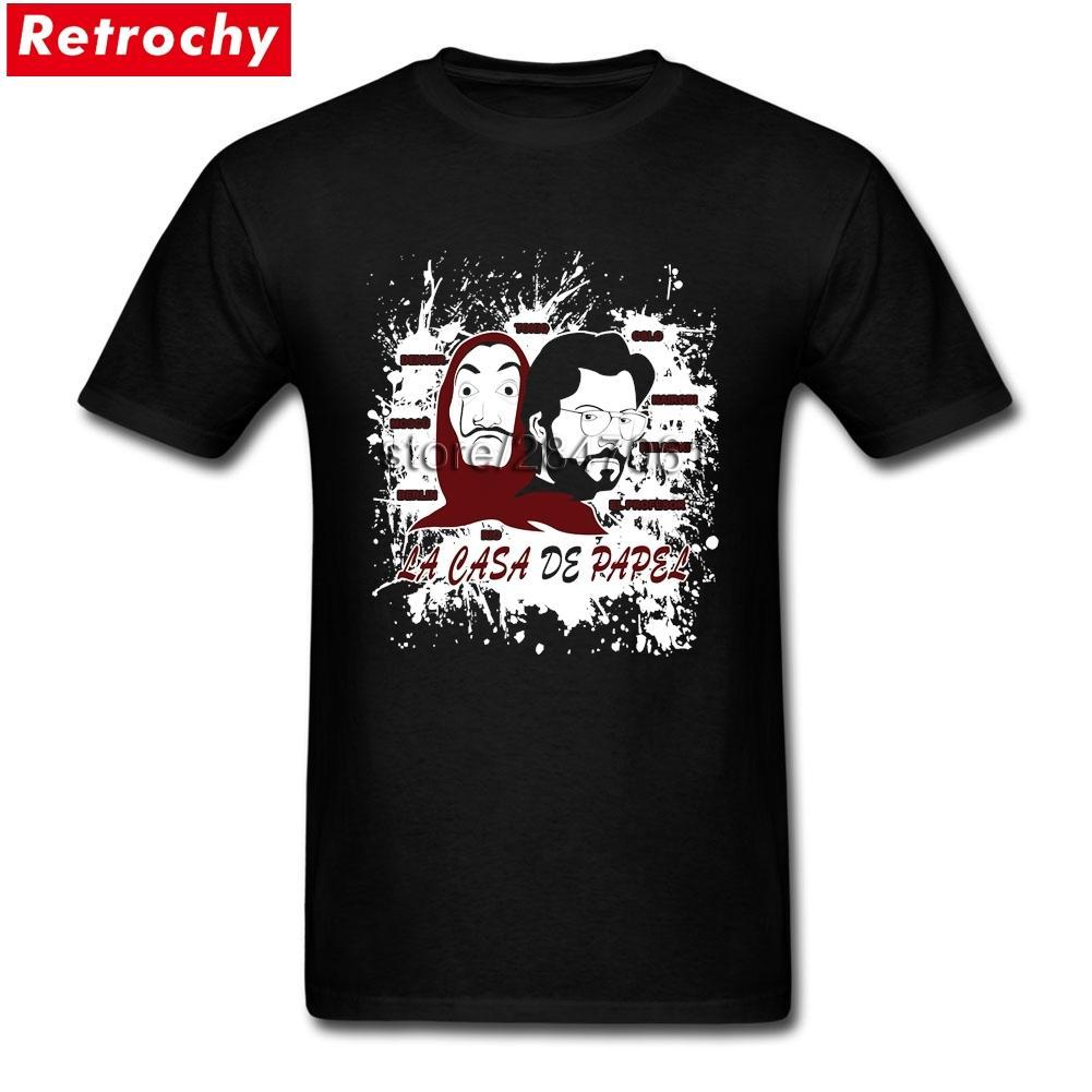 Vatertags-La Casa de Papel Geld Heist Shirts Männer Funky Short Sleeve Crewneck Cotton T-Shirt