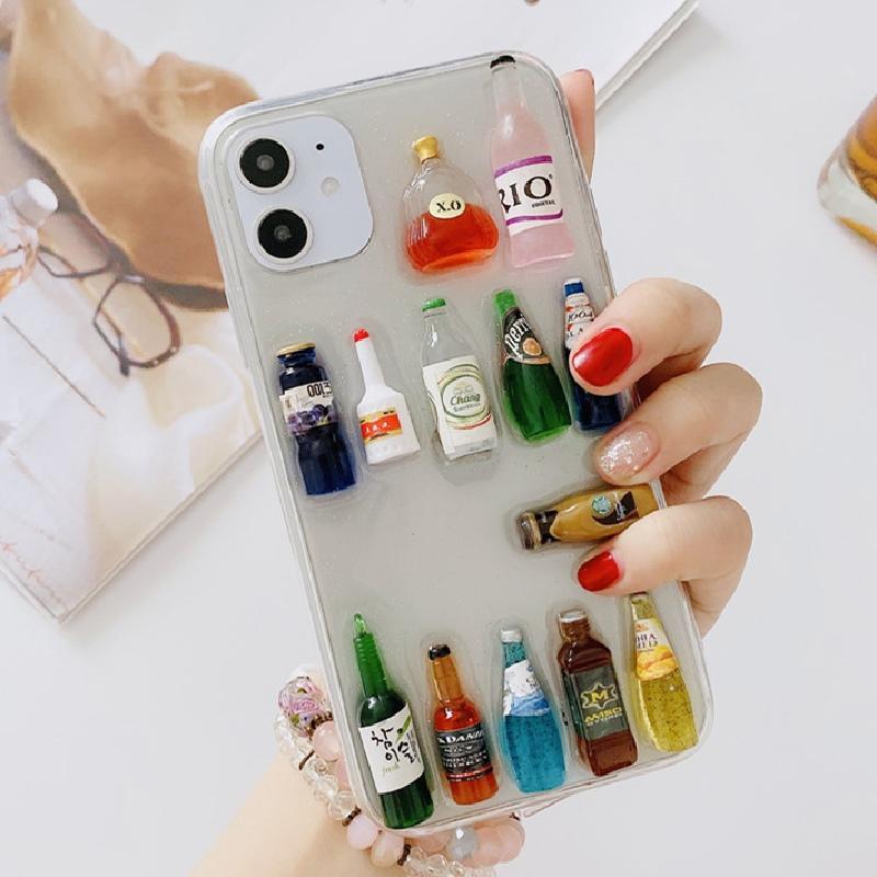 Para un máximo de 7 8plus X XR Caso Xsmax caja DIY del teléfono winebottle transparente TPU nuevo de la manera del teléfono del iPhone 11Pro para Huawei P30 P40pro Mate30 Mate20