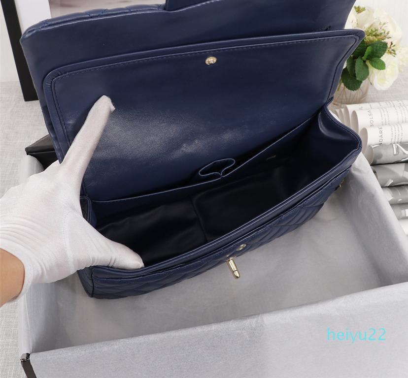 디자이너 - 패션 크로스 바디 체인 플랩 백 블랙 30cm CF 가방 더블 플랩 가방 패션 여성 정품 가죽 어깨 가방 1113