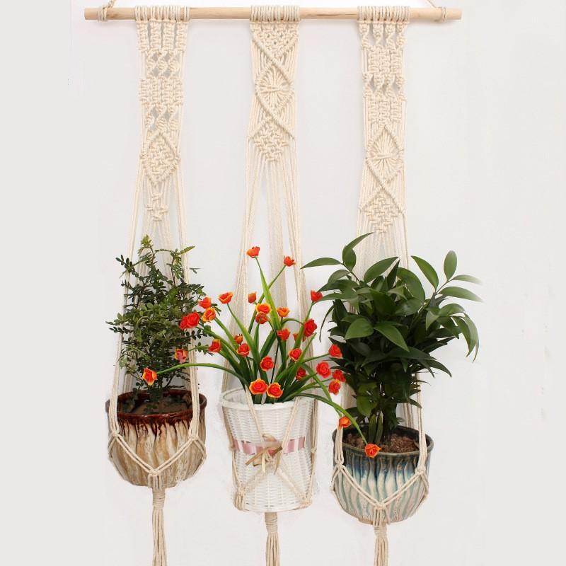 Plant Hanger Rope Garden Balcony Decoration Indoor Outdoor Hanging Planter Basket Flower Pot Holder Cotton Rope Tray Bohemia Home Decor