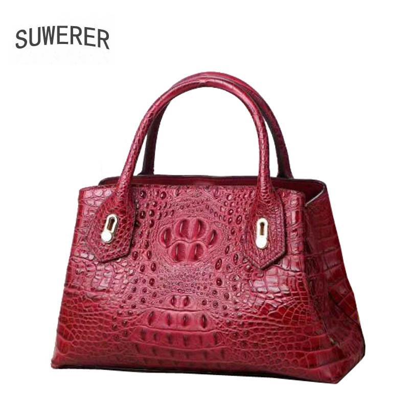 Реальные сумки из подлинной кожи из натуральной кожи крокодиловой узор, пакета пакета коровьей крокодила плечо женщины новые роскоши женские сумки KBUNJ