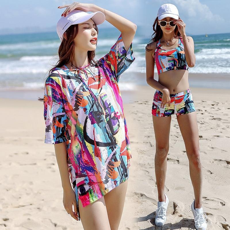 EpuZz mQ8li Juangeer été 2019 sport vacances plage maillot de bain des femmes de boxeur split maillot de bain conservateur trois pièces ensemble