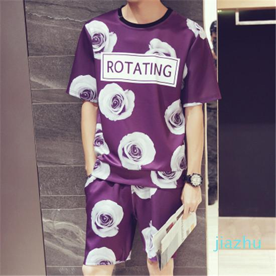 Hot Sale New Summer Fashion 3D Printing O Neck Set Sporting Suit Casual Short Sleeve T Shirt Men Tracksuit Sportswear Casual T Shirt Sets