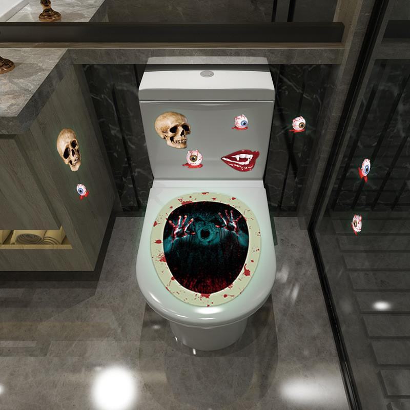 발광 화장실 스티커 공포 해골 마녀 주제 제스처 욕실 변기 스티커 할로윈 화장실 홈 인테리어 OWE1884