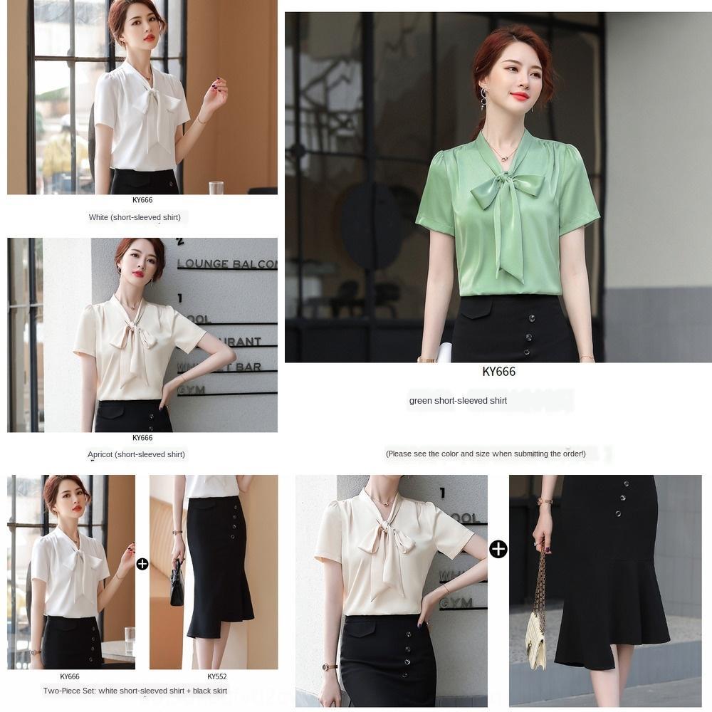 Verano 2020 nueva cinta diseño nicho de la gasa de la camisa de la cinta al estilo occidental de las mujeres de la moda de manga corta