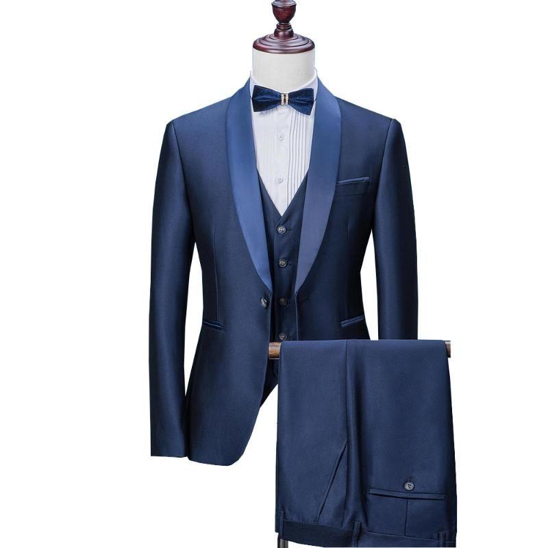 Düğün için Erkek Suit Erkekler Şal Yaka için 2020 Düğün Suit 3 adet Slim Fit Mavi Takım Elbise Erkek Smokin Ceket (Blazer + Pantolon + Yelek)