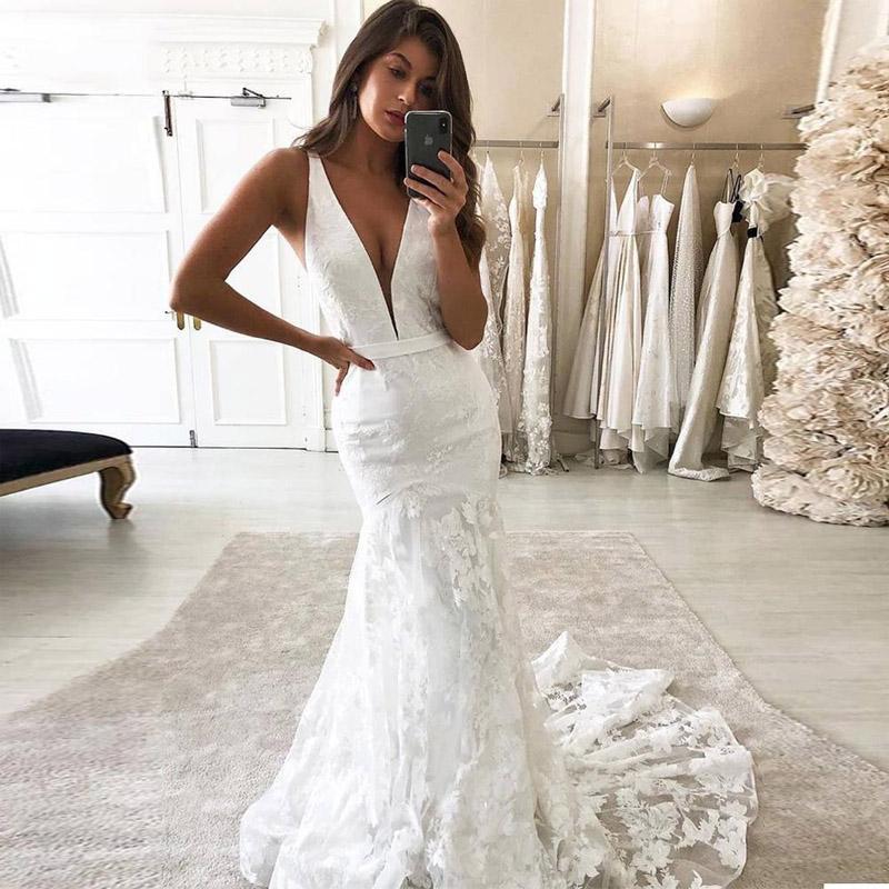 Sexy Глубокий V шеи Свадебное платье Русалка Open Backless рукавов Кружева Long Trail Свадебные платья 2021 Современный сшитое Плюс Размер