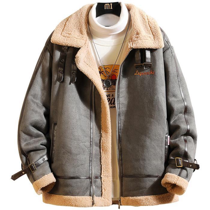 Retro para hombre Tamaño más abrigos de invierno caliente grueso del color sólido de los hombres chaquetas ocasionales flojas Fleece Hombre Ropa de abrigo
