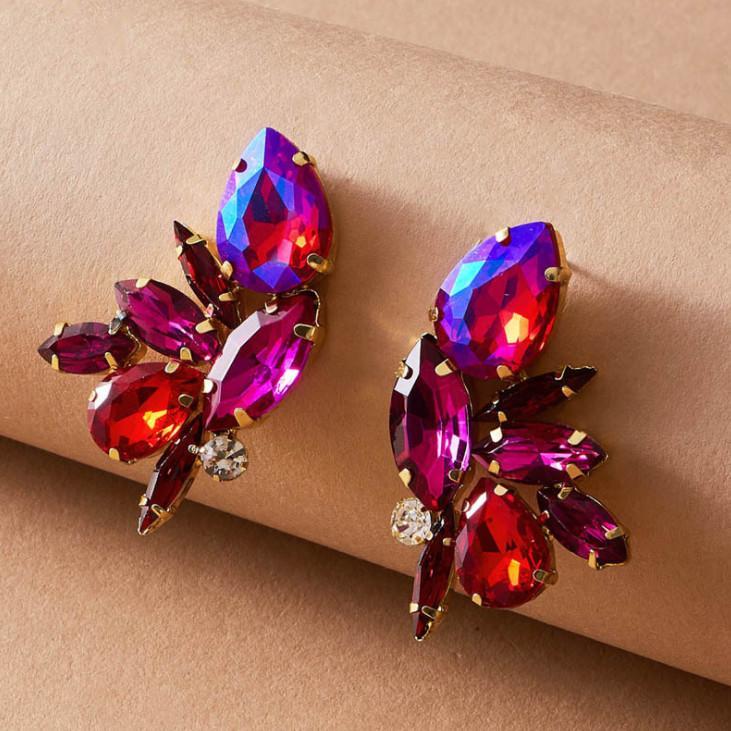 Europa und Amerika übertrieben Persönlichkeit Legierung Diamant bunten Glas voller Diamant-Ohrringe, Antik künstlichen Rubin Insekt Ohrringe