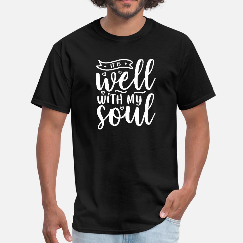 Está bien con mi alma cristiana Creyente Fe hombres de la camiseta de manga corta personalizadas S-XXXL básico sólido Antiarrugas nuevo estilo del resorte fresco