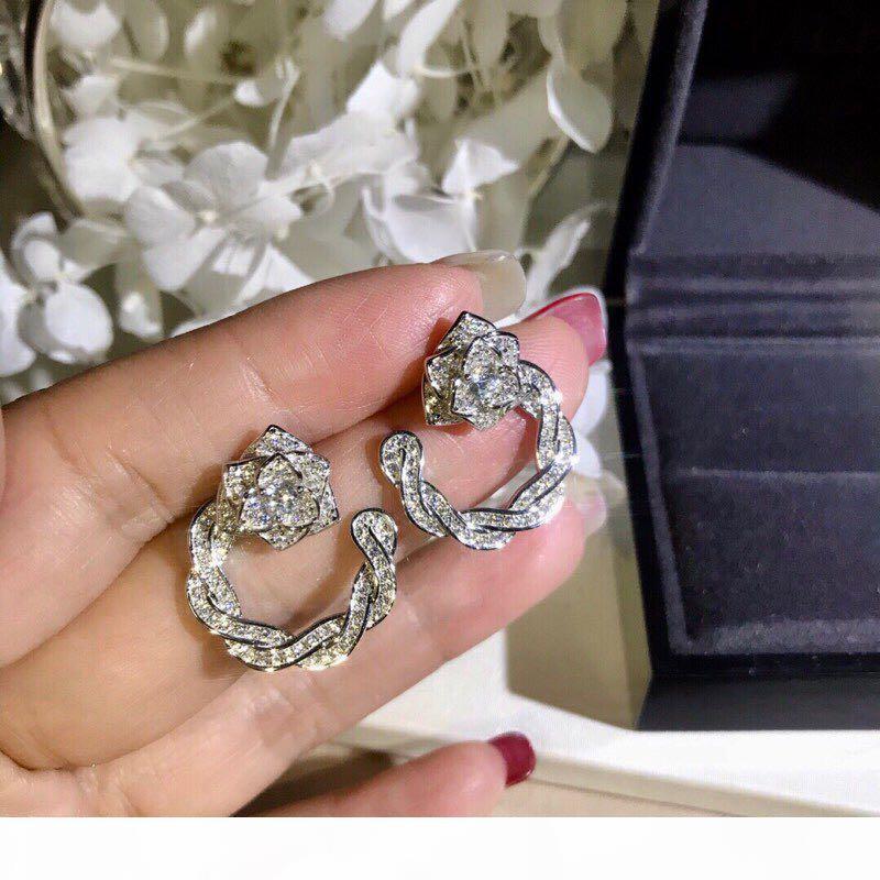 Lüks Klasik Tasarımcı S925 Gümüş Tam Kristal Gül Çiçek Hollow Yuvarlak Charm Döngü Küpe İçin Kadınlar Takı
