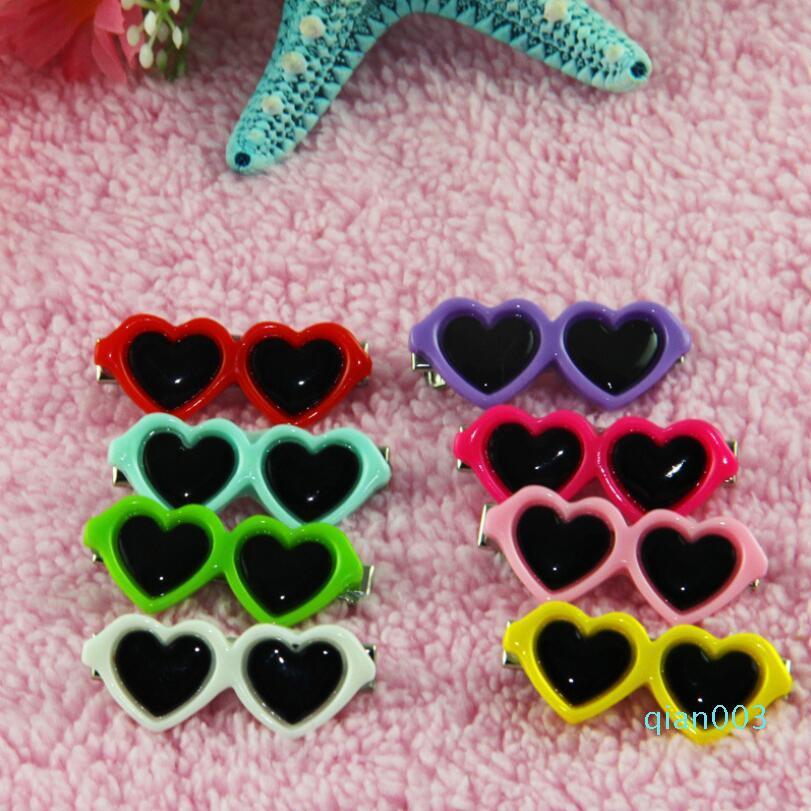 Boutique Sunglasses Pet Dog Hair heart Clips sunglasses Pet Grooming For Dogs Cats Hairs Groom decor supplies 4CM LXL774-1