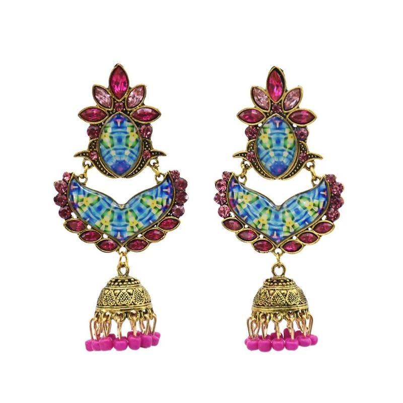 Vintage Bollywood Gypsy ossidato placcato oro tradizionale Jhumka Jhumki orecchini per le donne Bohemian Afghan Egitto Nepal