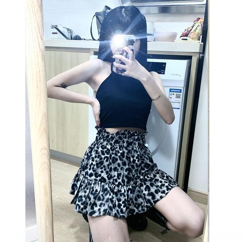 estilo ZDU7B coreano saia encantador 2020 Uma saia nova imparável cintura alta verão- Linha A- anti-exposição linha A- leopardo das mulheres