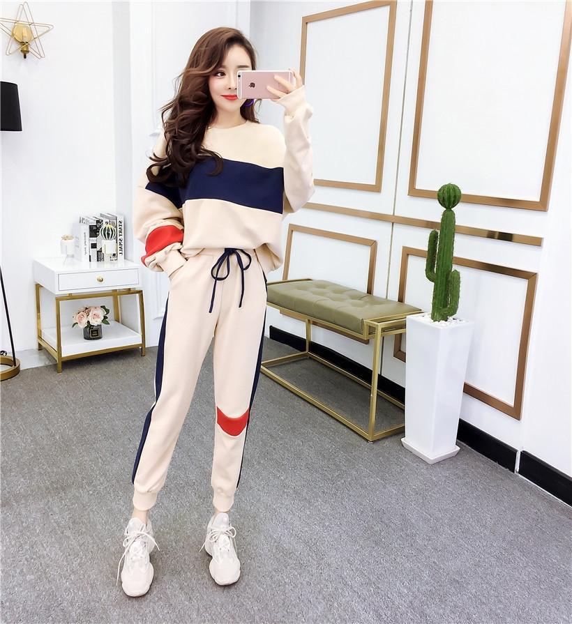 9Dt11 nyEk7 Delgado primavera casual y juego del otoño de la manera femenina de 2020 estudiantes de estilo flojo coreano sudadera con capucha traje de dos piezas
