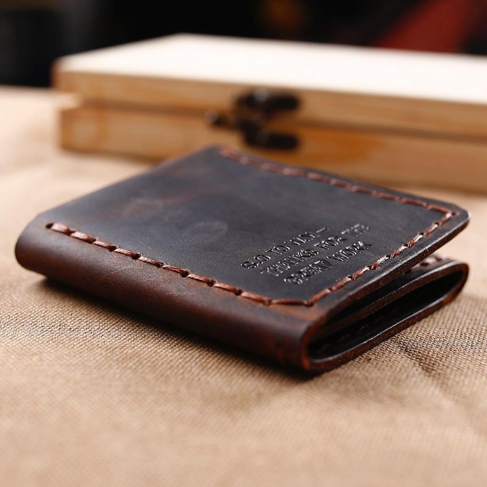 Billetera de cuero genuino de cuero Monedero hecho a mano Monedero con Horse Crazy Short Vintage Wallet Hombres Coin Trifold Jmdbk